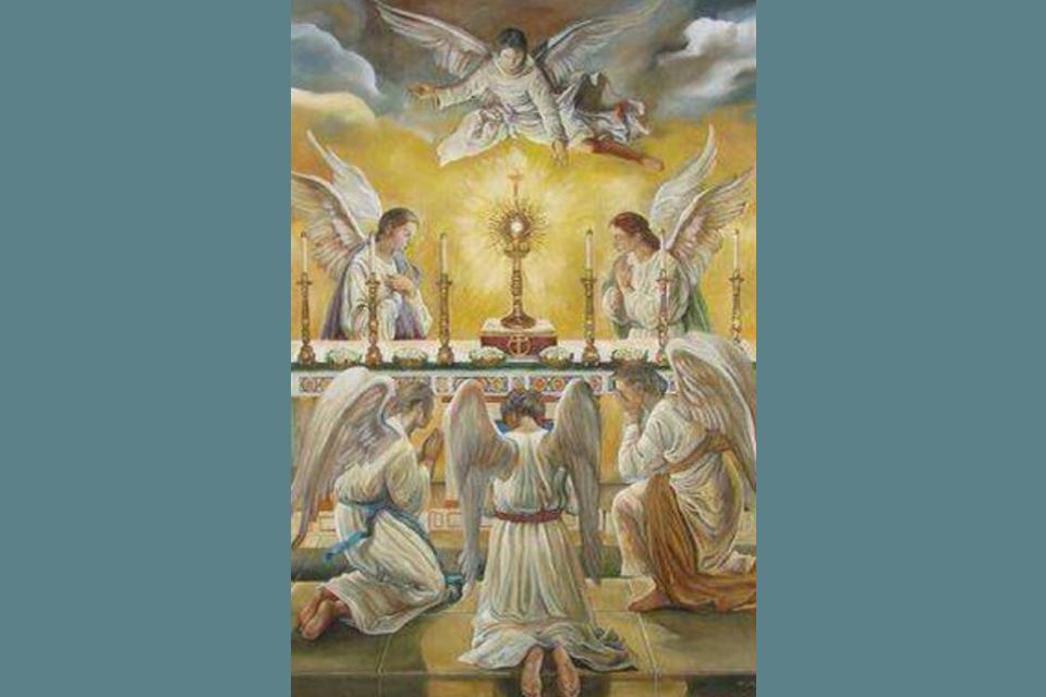 Engel en mens samen bij de H. Mis